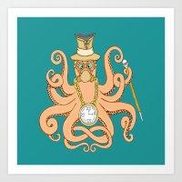 steam punk Art Prints featuring Steam Punk Octopus by J&C Creations