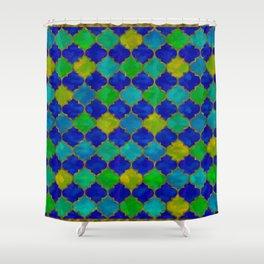 Ocean Breeze -Watercolor Moroccan Lattice Shower Curtain