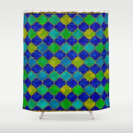Ocean Breeze -Watercolor Moroccan Lattice Shower Curtain