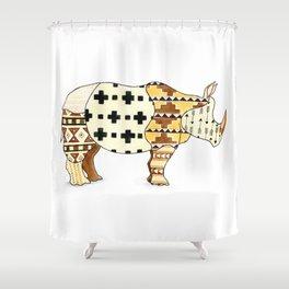 Tribal Rhino Shower Curtain