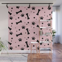 Black dog paw and bones pattern on pink background Wall Mural