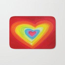 Rainbow Heart Love Bath Mat