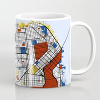 san francisco Mugs featuring San Francisco by Mondrian Maps