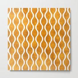 Retro Tie Dye Ogee Pattern 315 Yellow Metal Print