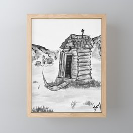 Outhouse, Primitive Art, Black & White Print of Painting by Faye Framed Mini Art Print
