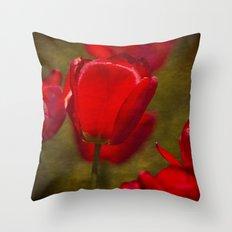 Springing Up Tulips Throw Pillow