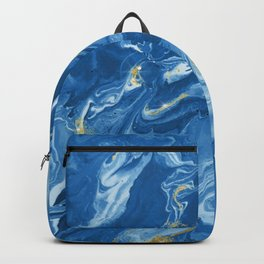 Marble Texture Pattern #2 - Blue, Gold, White Backpack