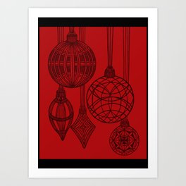 Ornaments in Red Collection (design 3) Art Print
