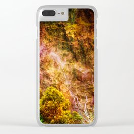 Moody waterfall Clear iPhone Case