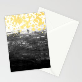 Minimal painting abstract gold black and white ocean water waves dots painterly Stationery Cards