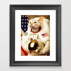Astronaut Cat Framed Art Print