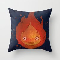 calcifer Throw Pillows featuring She Likes My Spark! by princefox