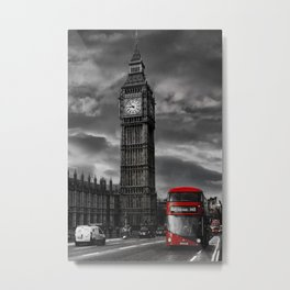 London - Big Ben with Red Bus bw red Metal Print