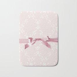 White lace & Pink ribbon Bath Mat
