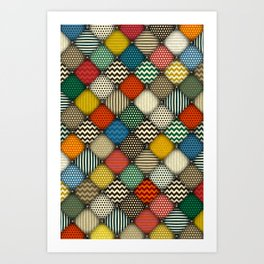 buttoned patches retro Art Print