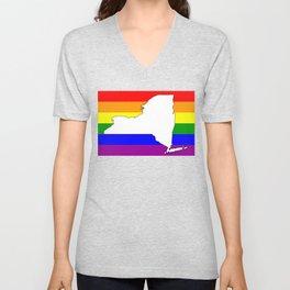New York Gay Pride Rainbow Flag Shirt Unisex V-Neck