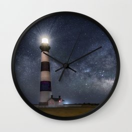 Bodie Island Lighthouse with Milky Way Core Wall Clock