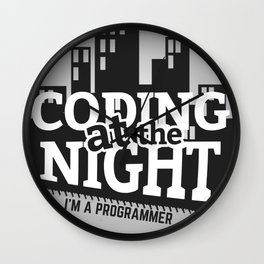 Programmer - Coding at the night Wall Clock