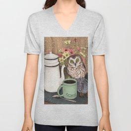 Coffee Owl Unisex V-Neck