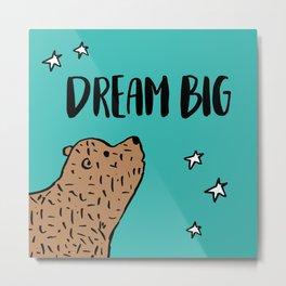 Dream big bear – Turquoise Metal Print