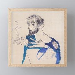 """Egon Schiele """"Gustav Klimt im blauen Malerkittel"""" Framed Mini Art Print"""