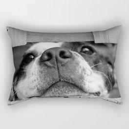 dog looking through fence Rectangular Pillow