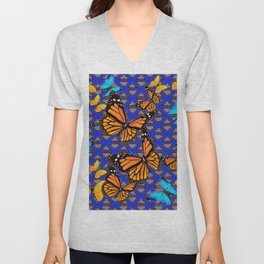 MODERN BUTTERFLY BLUE ABSTRACT WORLD Unisex V-Neck
