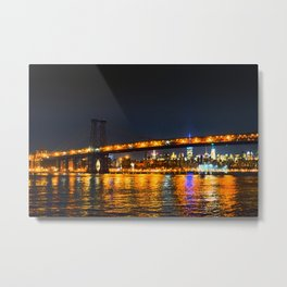 New York City Brooklyn bridge at night Metal Print