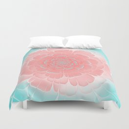 Romantic aqua and pink flower, digital abstracts Duvet Cover