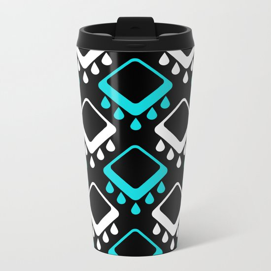 An abstract geometric pattern . Decoration white and turquoise on a black background . Metal Travel Mug
