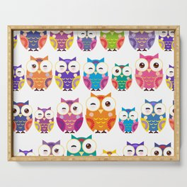 pattern - bright colorful owls on white background Serving Tray
