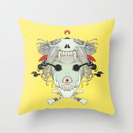 VooDoo Skull Witch, Gothic Artwork Throw Pillow