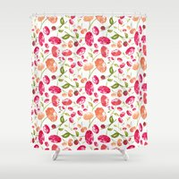 peonies Shower Curtains featuring Peonies by viktoria.rodek