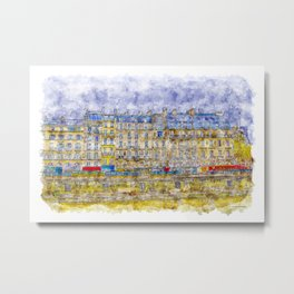 Rainy Paris Metal Print