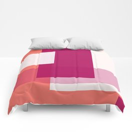 Living Coral + Raspberry | Pacifica Color Block Comforters