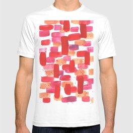 Red and Pink Abstract Watercolor T-shirt