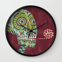 happy birthday Wall Clocks featuring Happy Birthday by Santiago Uceda