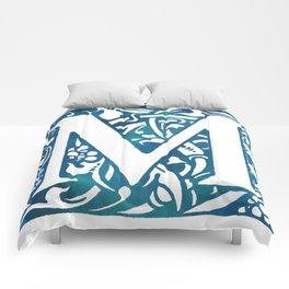 Letter M Antique Floral Letterpress Comforters