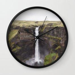 Haifoss waterfall - landscape photography Wall Clock