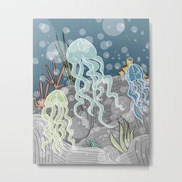 Floatin' Jellyfish Metal Print