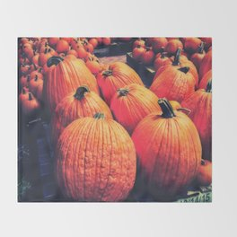 Pumpkins on a Pallet Throw Blanket