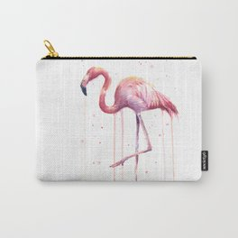 Flamingo Watercolor Tropical bird Carry-All Pouch