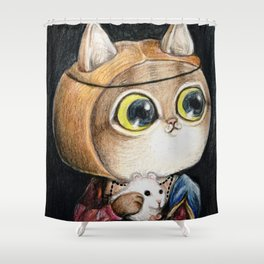 Lady cat with an Ermine Shower Curtain