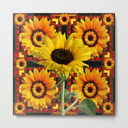 SOUTHWESTERN  BLACK COLOR YELLOW SUNFLOWERS ART Metal Print