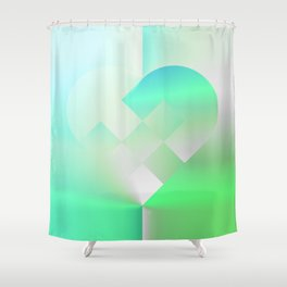 Danish Heart Mint Shower Curtain