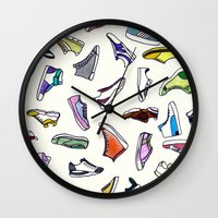 sneakers Wall Clocks featuring sneakers addiction by Federico Faggion