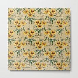Vintage Sunflower Bouquets  Metal Print