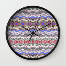 Red Violet Pink Rose Garden Aztec Wall Clock