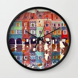 Rainy day in Poznań, Poland Wall Clock