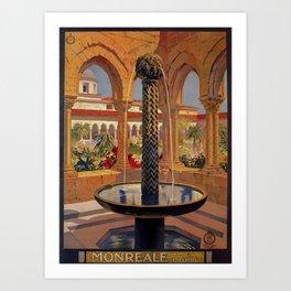 Palermo Monreale vintage 1920s Italian travel ad Art Print